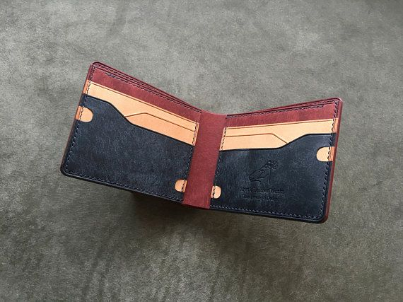 New design bifold wallet, piece wallet, artpiece wallet, navy wallet, billfold wallet, mens leather wallet, design leather wallet #leatherwallets