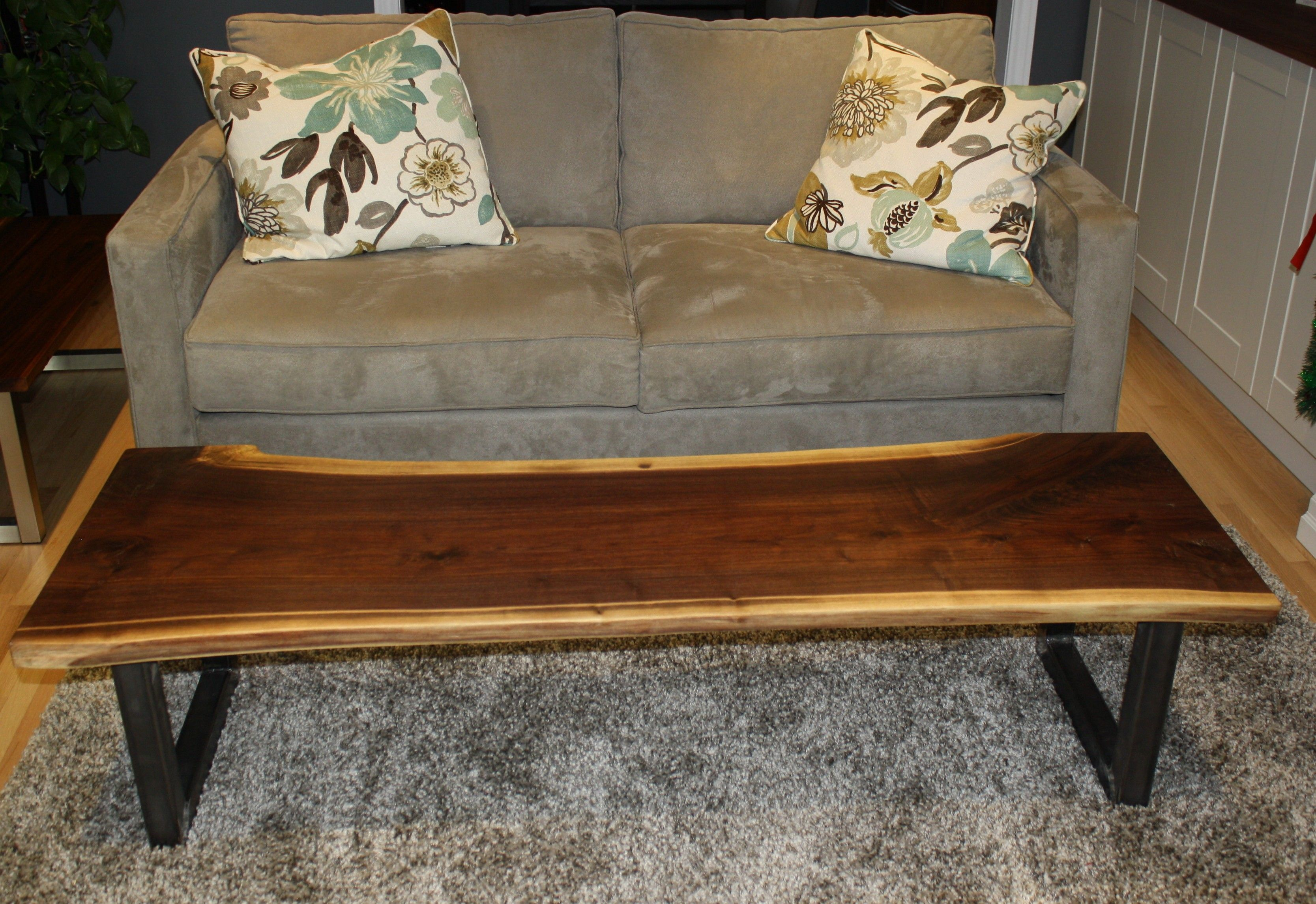 live edge walnut coffee table $1100