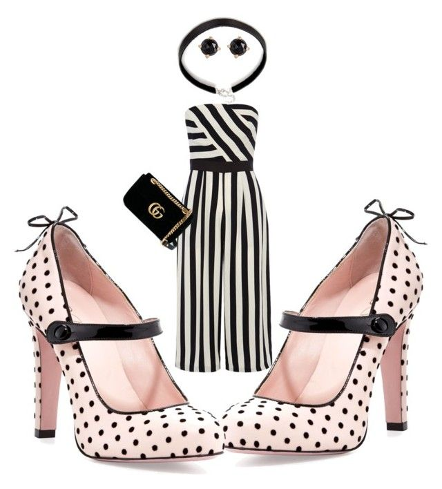 """""""Stripes and spots!"""" by diannecollier ❤ liked on Polyvore featuring Coast, RED Valentino, Irene Neuwirth and Gucci"""