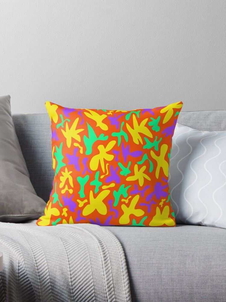 'Abstract cute whimsical brights fanciful funny green, yellow and purple shapes on mustard orange background. Colorful stylish retro design.' Throw Pillow by IvyArtistic