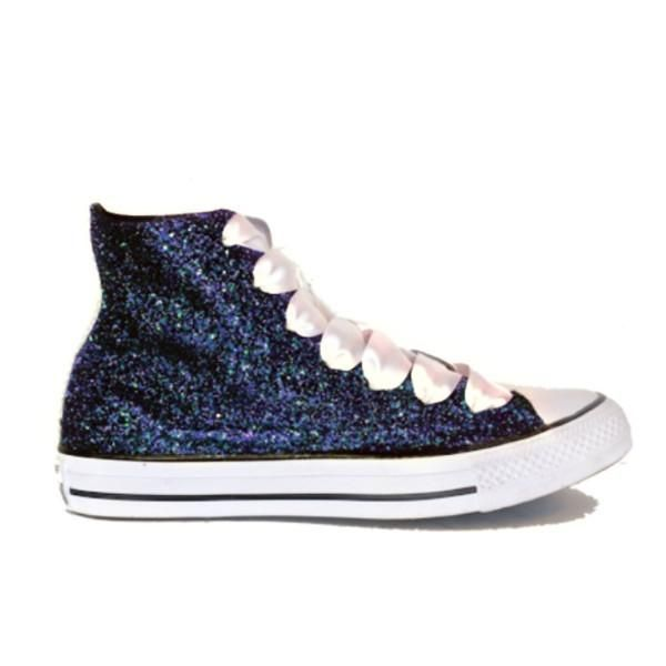 fa5992287a5d Sparkly Glitter converse all star High Top All our Converse are Handmade Midnight  Navy Blue   Black White satin shoe laces or navy satin shoe laces (write ...