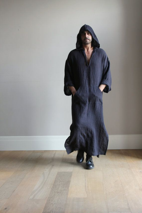 3630eba86a I could definitely sport this. Looks soooo comfy! Black mens hooded tunic.  Soft pure vintage linen. by YUMEworld