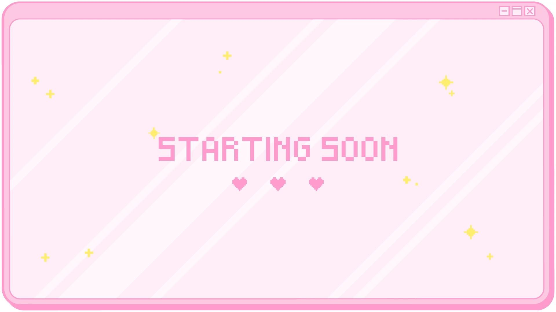 Animated Twitch Cute Pink Pixel Pop Up Box Window Screens Offline Brb Starting Soon Kawaii Streamer Sparkle Video Video Overlays Cute Video Design Youtube Twitch