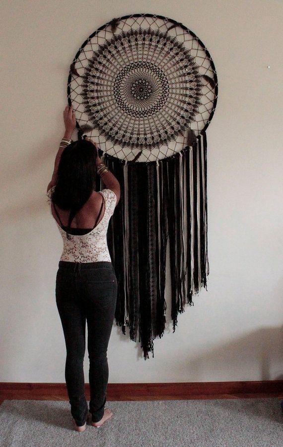 Giant dream catcher boho wall hanging Black