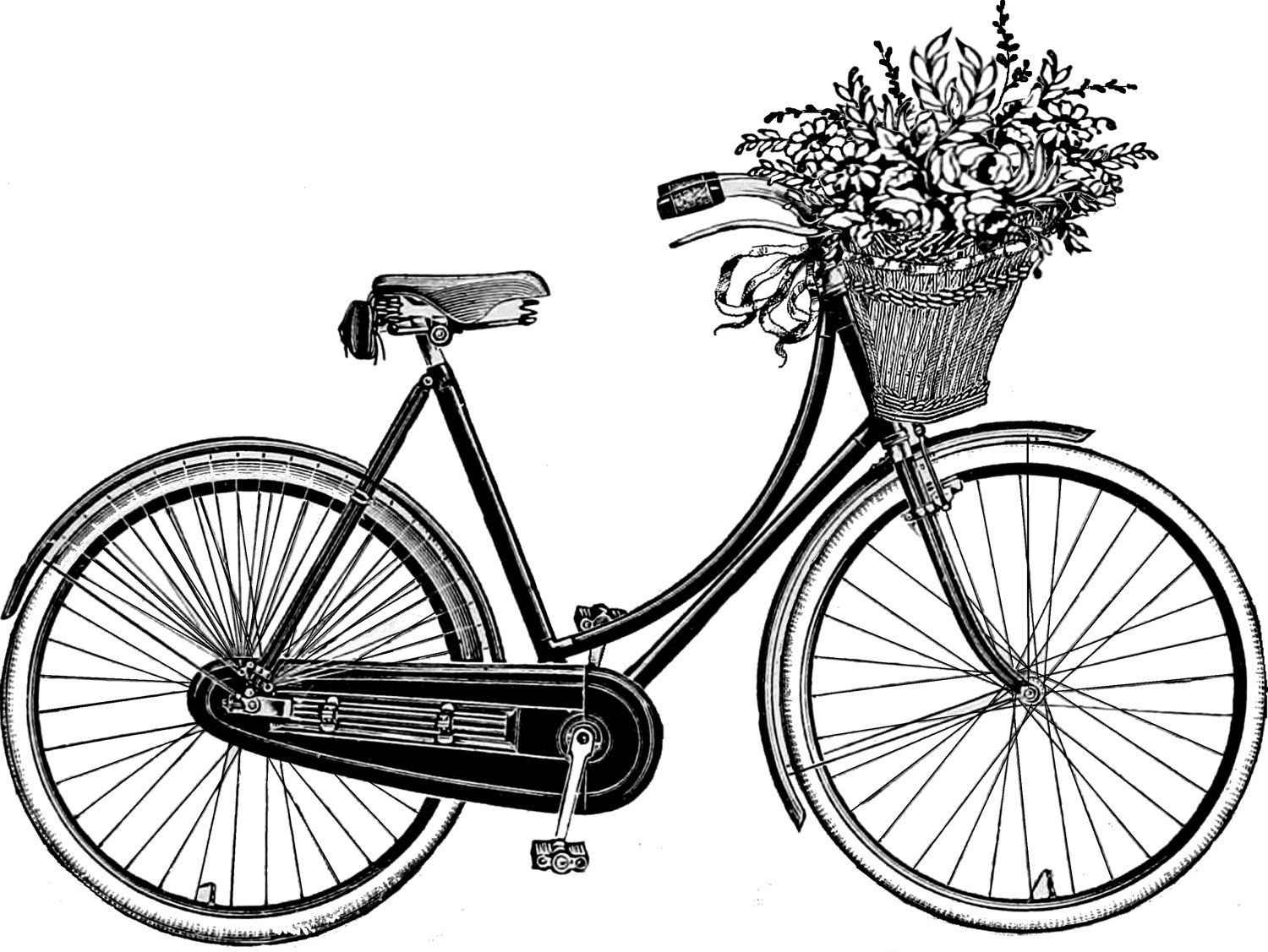 Image result for old bike with basket, drawing