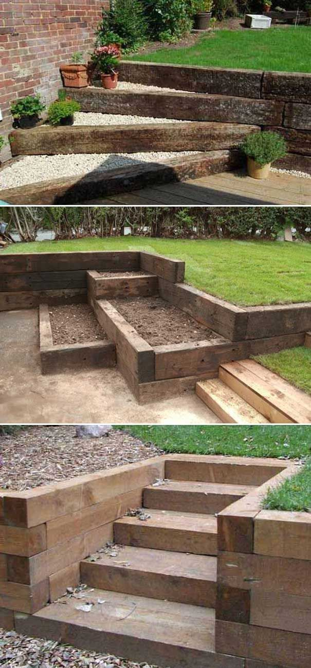 railway sleepers garden edging ideas in 2020 sloped on magnificent garden walkways ideas for unique outdoor setting id=20895