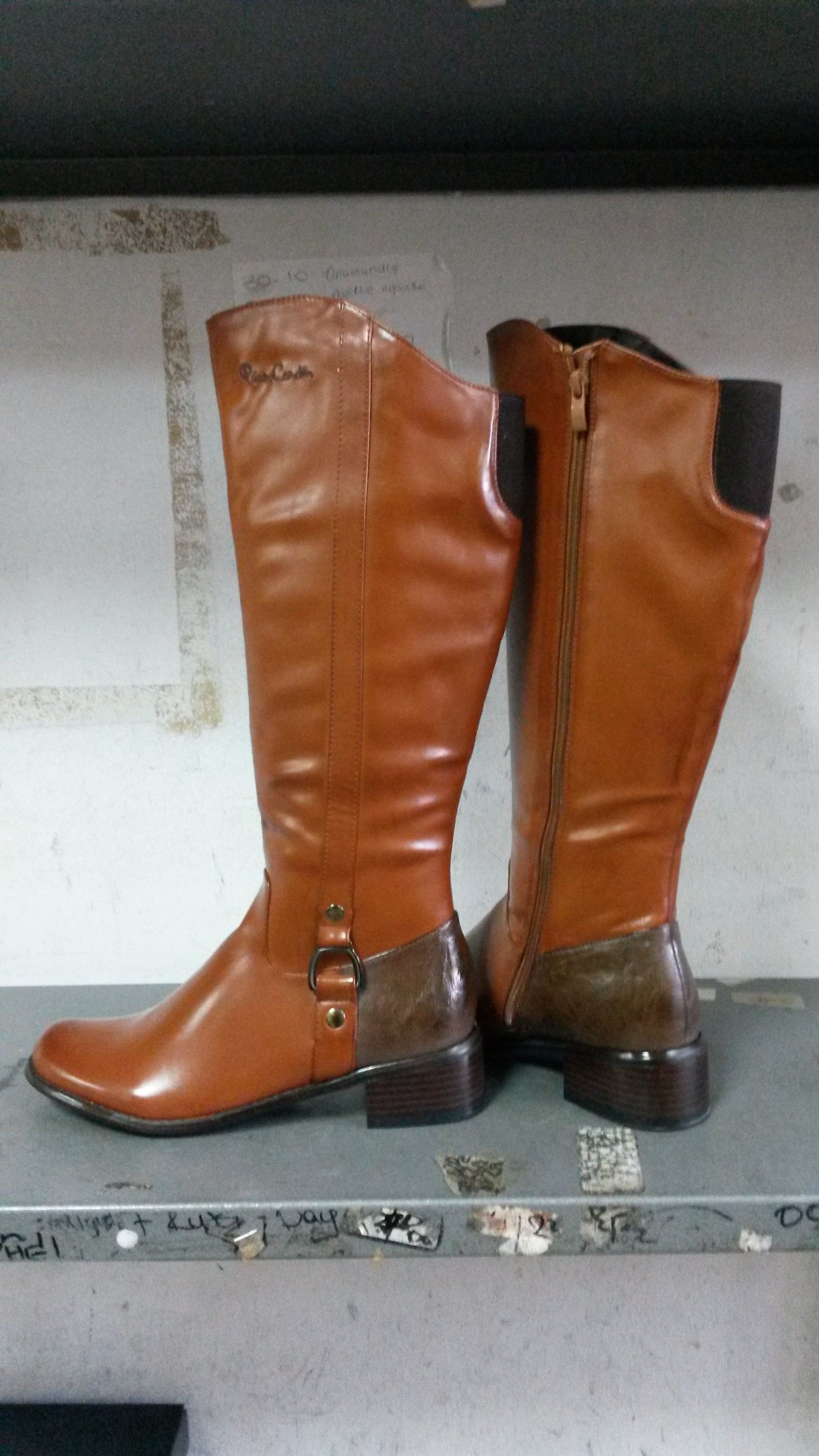 Buckle Detail Boots Taupe Pierre Cardin clearance excellent p41KT