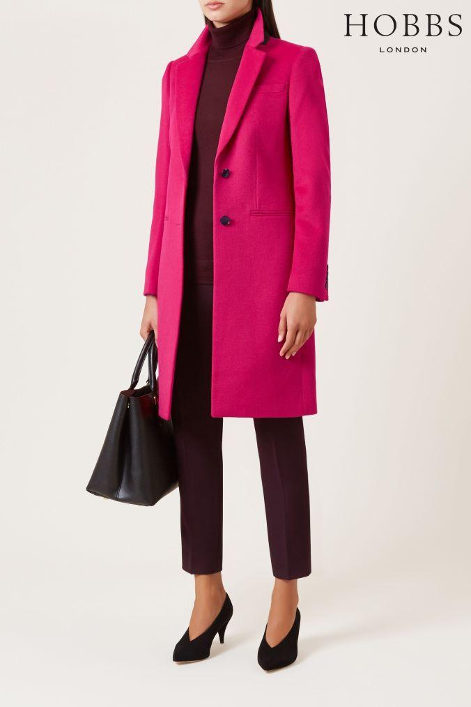 9729f9885 Womens Hobbs Hot Pink Tilda Coat - Pink   Products   Pink wool coat ...