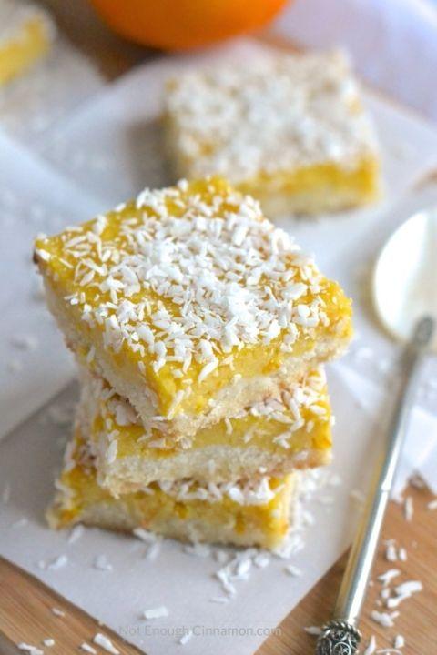 Paleo Orange Curd Coconut Bars   Find the recipe on NotEnoughCinnamon.com #glutenfree #healthy #dessert