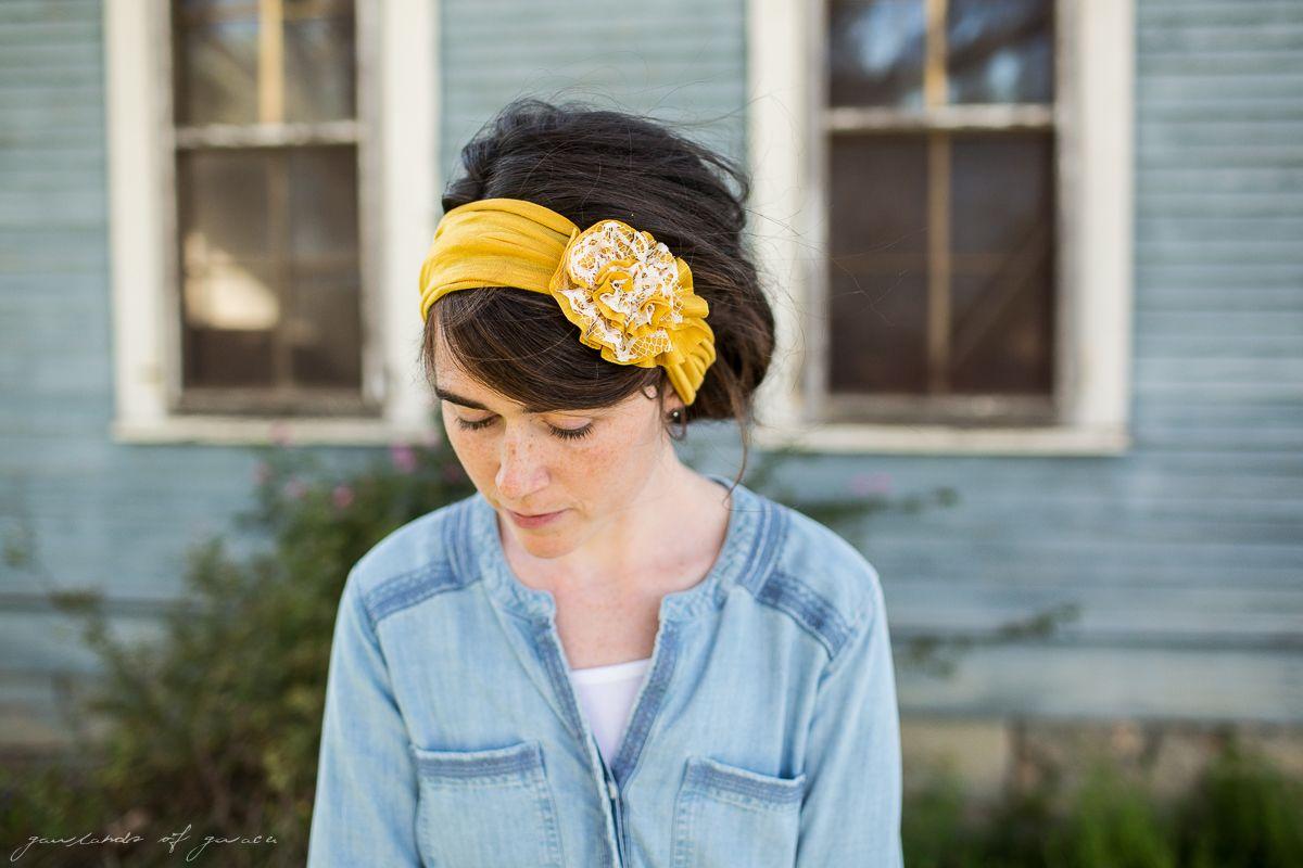 GOG Tea Lace Rosette Headwrap-3047
