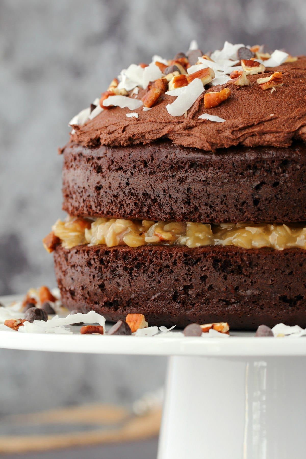 Moist and rich 2layer vegan german chocolate cake with a