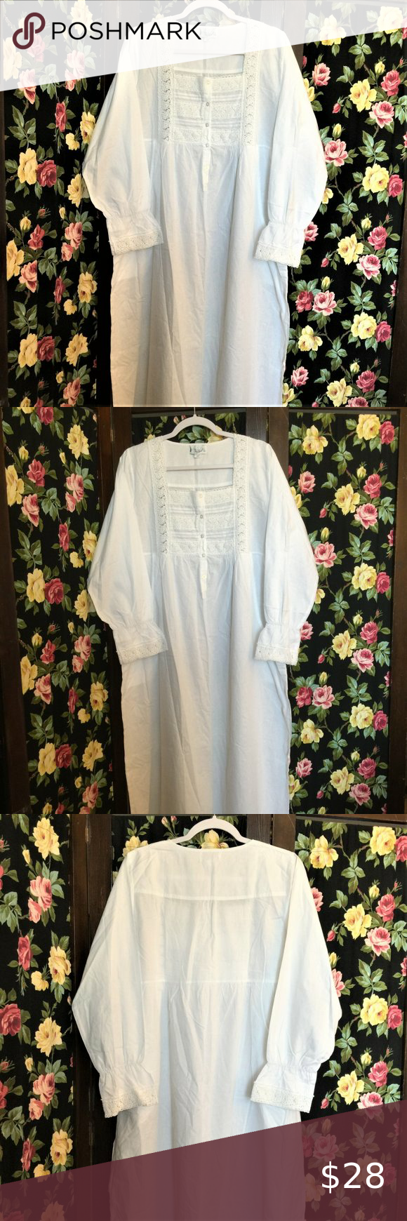 100% Cotton White Vintage Style Prarie Nightgown The 1 For U  100% Cotton White Vintage Style Prarie Nightgown Crochet Lace Bodice & Sleeve Cuff Length: Approx 52-53