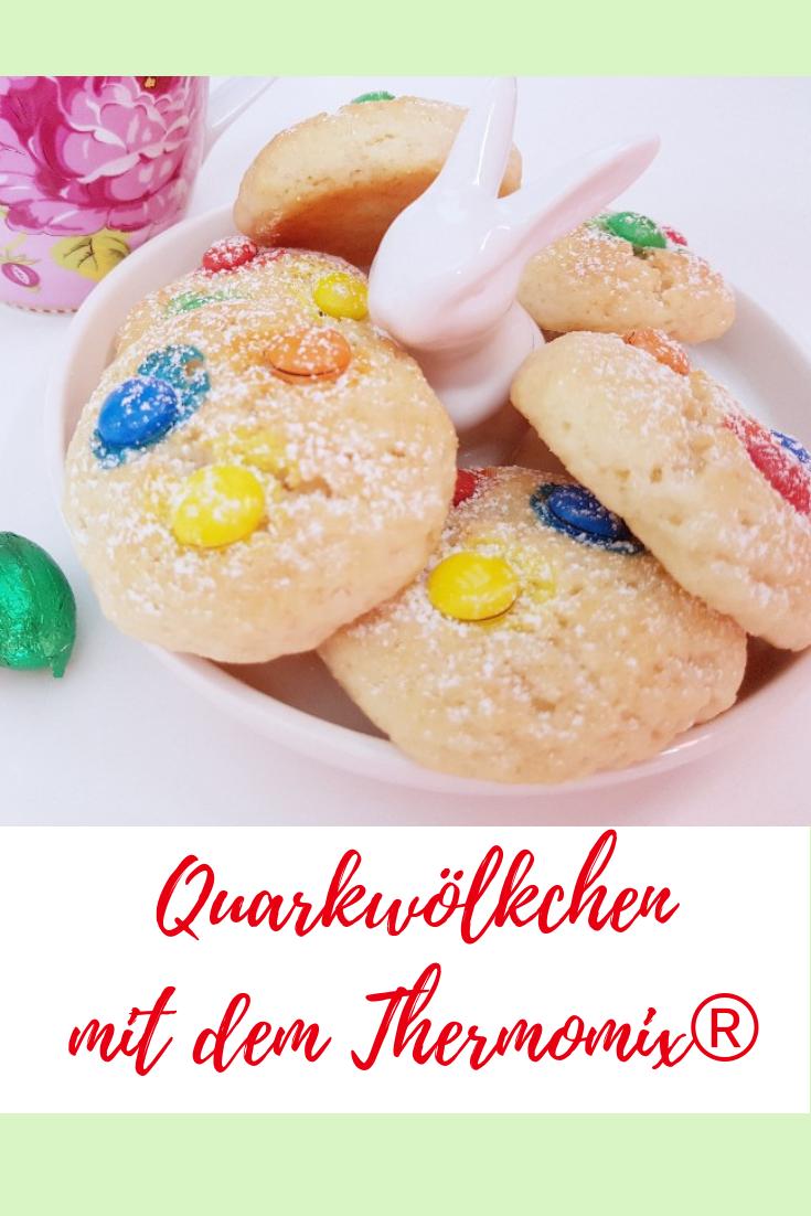 Rezept für luftig leichte Quarkwölkchen. Kinderleicht backen. Perfekte Kekse für Kinder. Ostern backen #quarkwölkchen #thermomix #keksebacken