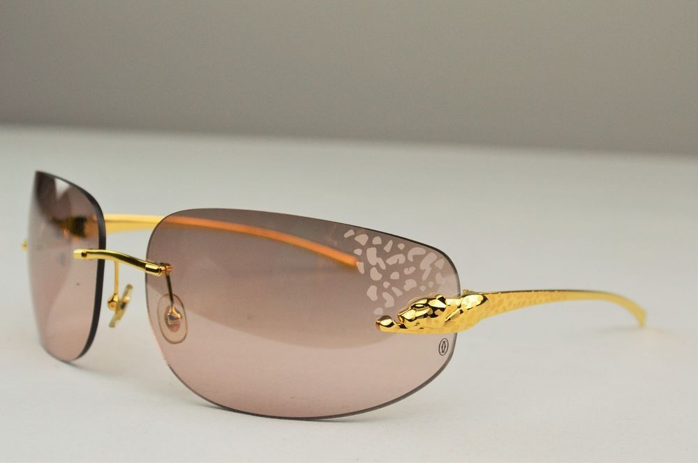 518c2a1f15a Auth Cartier Panthere Spots Gold Rimless Frame Plastic Lens Sunglasses T1  110  Cartier  Shield