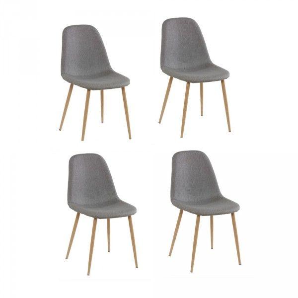 Chaise scandinave tissu gris pieds métal effet bois x4 - chaise conforama salle a manger