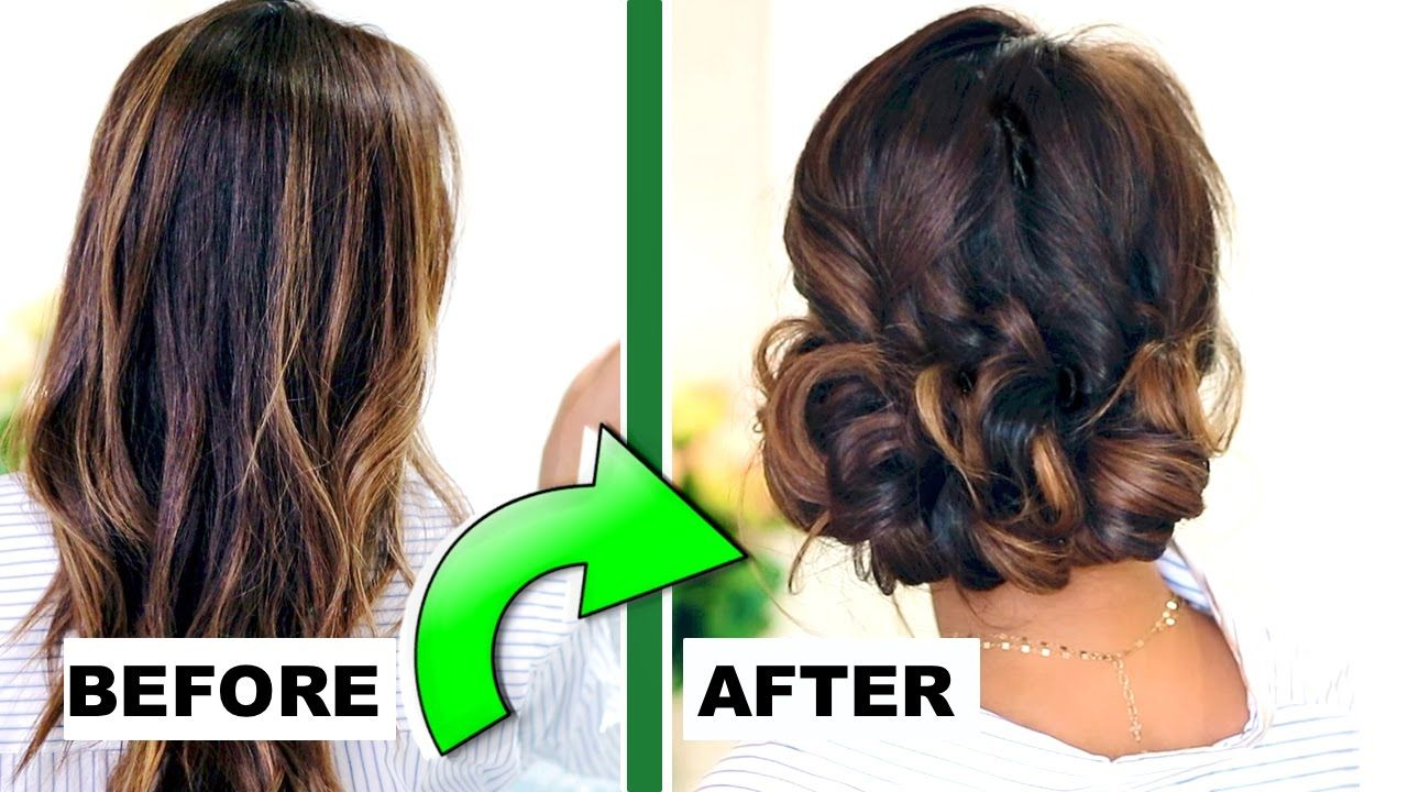 minute elegant curly bun easy updo hairstyles for