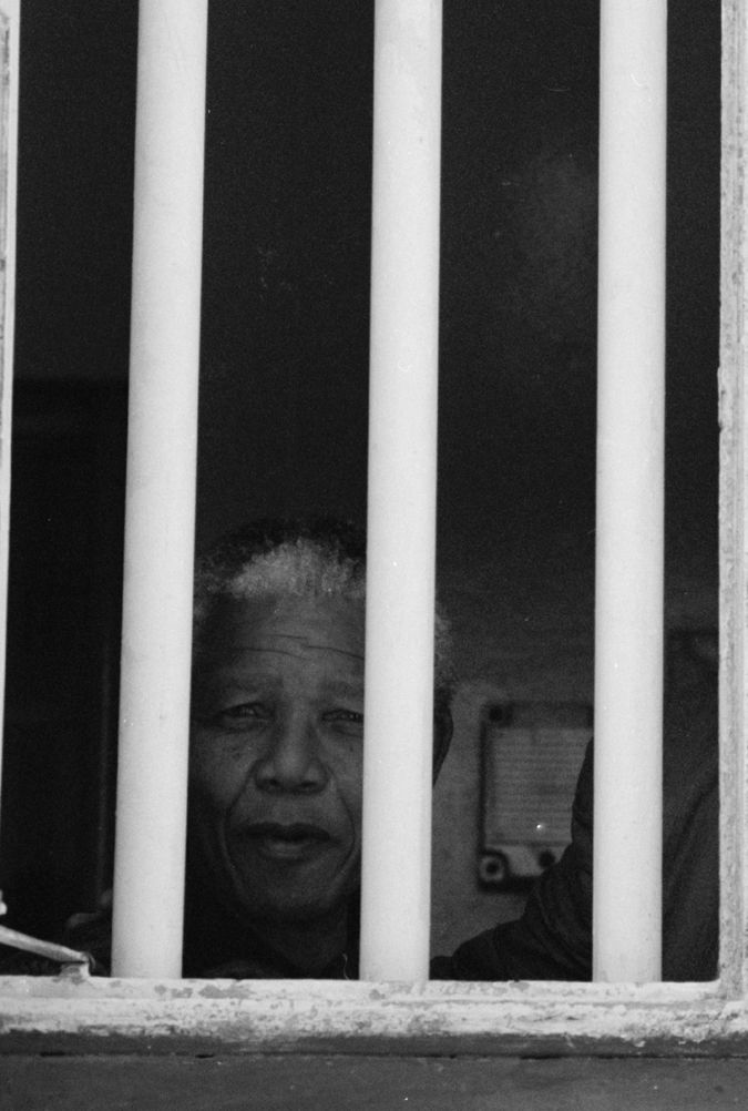 Nelson Mandela (7-18-1918 to 12-5-2013)  at the jail on Robben Islandin, Cape Town, South Africa. He was released from prison on February 11, 1990 after 27 years. (Imprisoned in 1964)