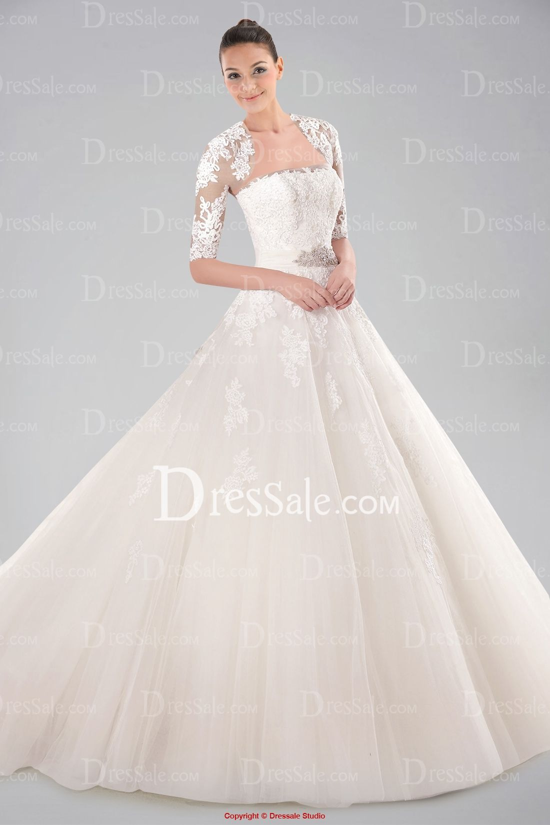 Tempting half sleeve ball gown wedding dress featuring appliques and
