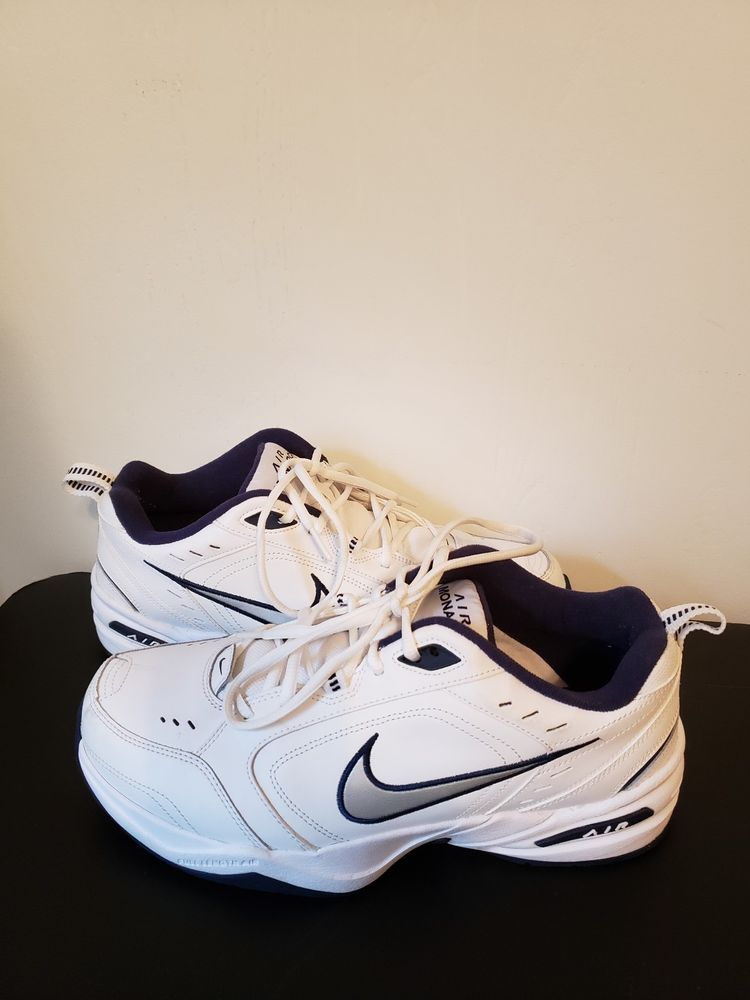 6f71174b4705 NIKE AIR MONARCH IV 4 EXTRA WIDE 4E EEEE WHITE SILVER NAVY BLUE ...