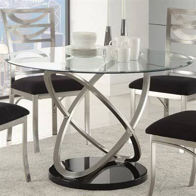 Coaster 121041 Tapia Dining Table With Round Tempered Glass Top