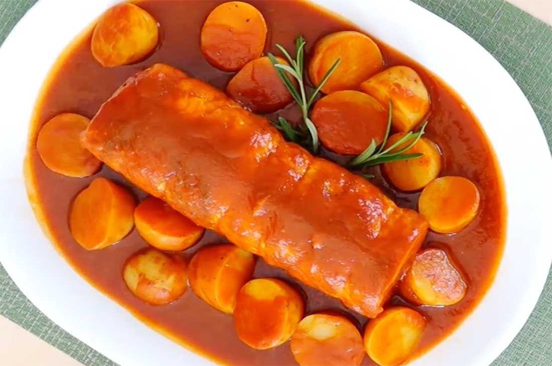 Receta de lomo de cerdo relleno de verduras  Receta