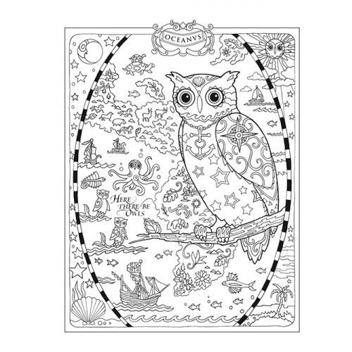 advanced and detailed owl coloring page free adults printable - Owl Coloring Page For Adults