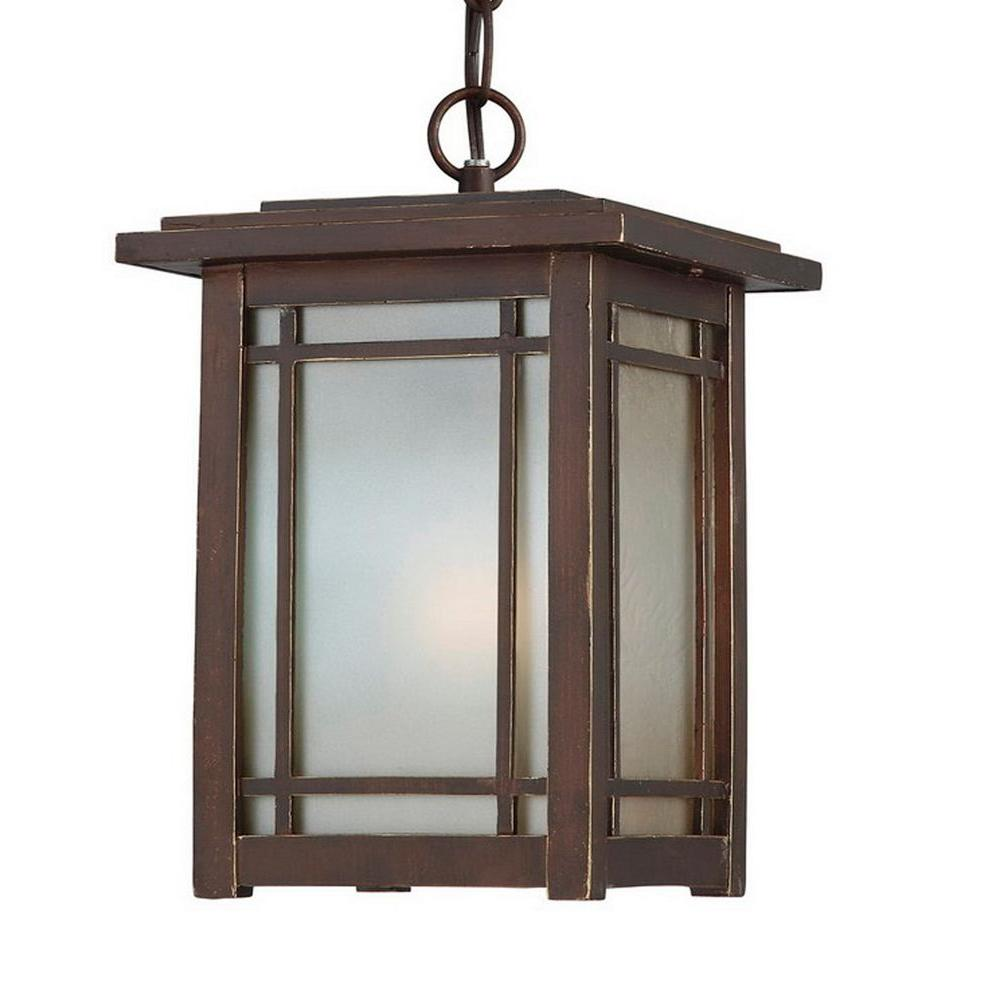 Home Decorators Collection Port Oxford 1 Light Outdoor Oil Rubbed Chestnut Hanging M Craftsman Outdoor Lighting Outdoor Ceiling Lights Outdoor Hanging Lanterns