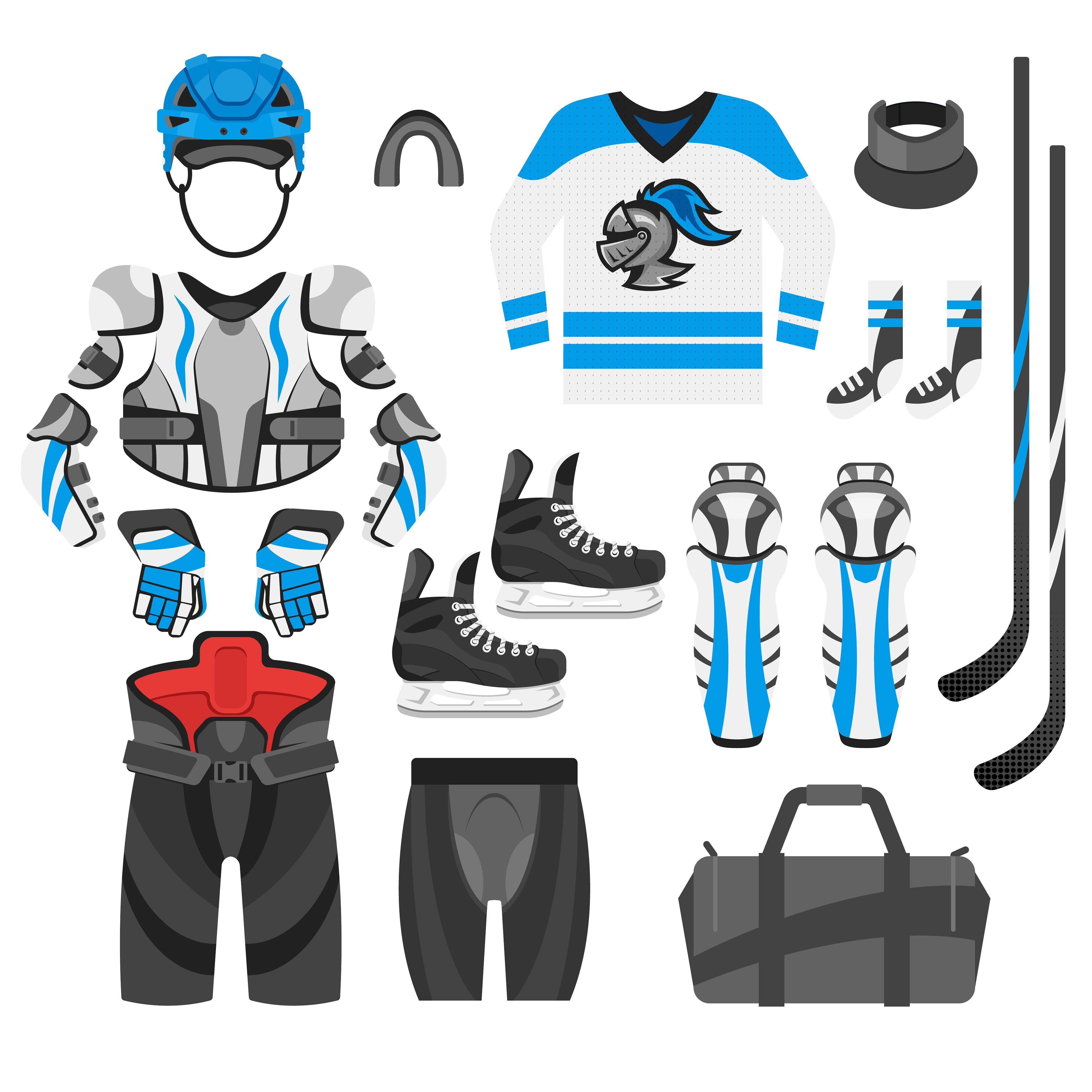 Hockey Equipment Two Colors Hockey Equipment Digital Design Trends Business Illustration