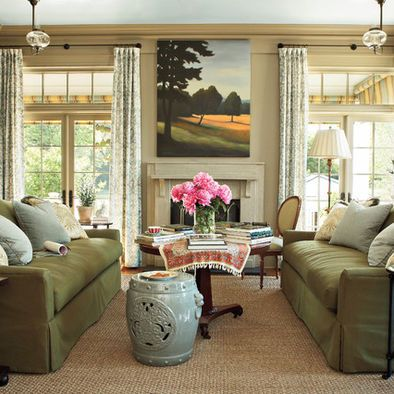 Nice Light Khaki Wall Color To Go With Olive Green Sofas This Is