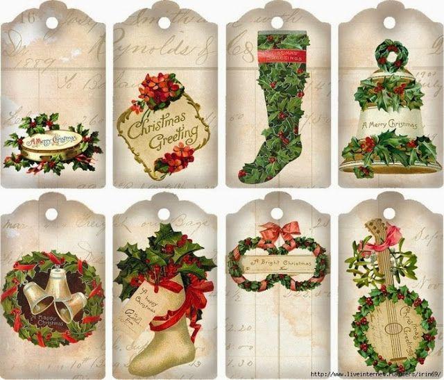 Navidad Retro: m s Etiquetas para Imprimir Gratis. | FIESTAS Y ...