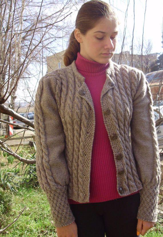 Hand Knit women's coat aran Ladies cardigan Knitted | Etsy