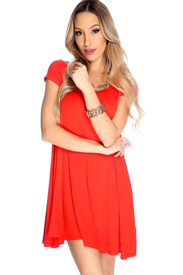 Casual red orange strappy short sleeve party dress short sleeves