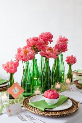 RECEPTION CENTER PIECES. Table Decor Pink, Green. This Would Be Way Pretty