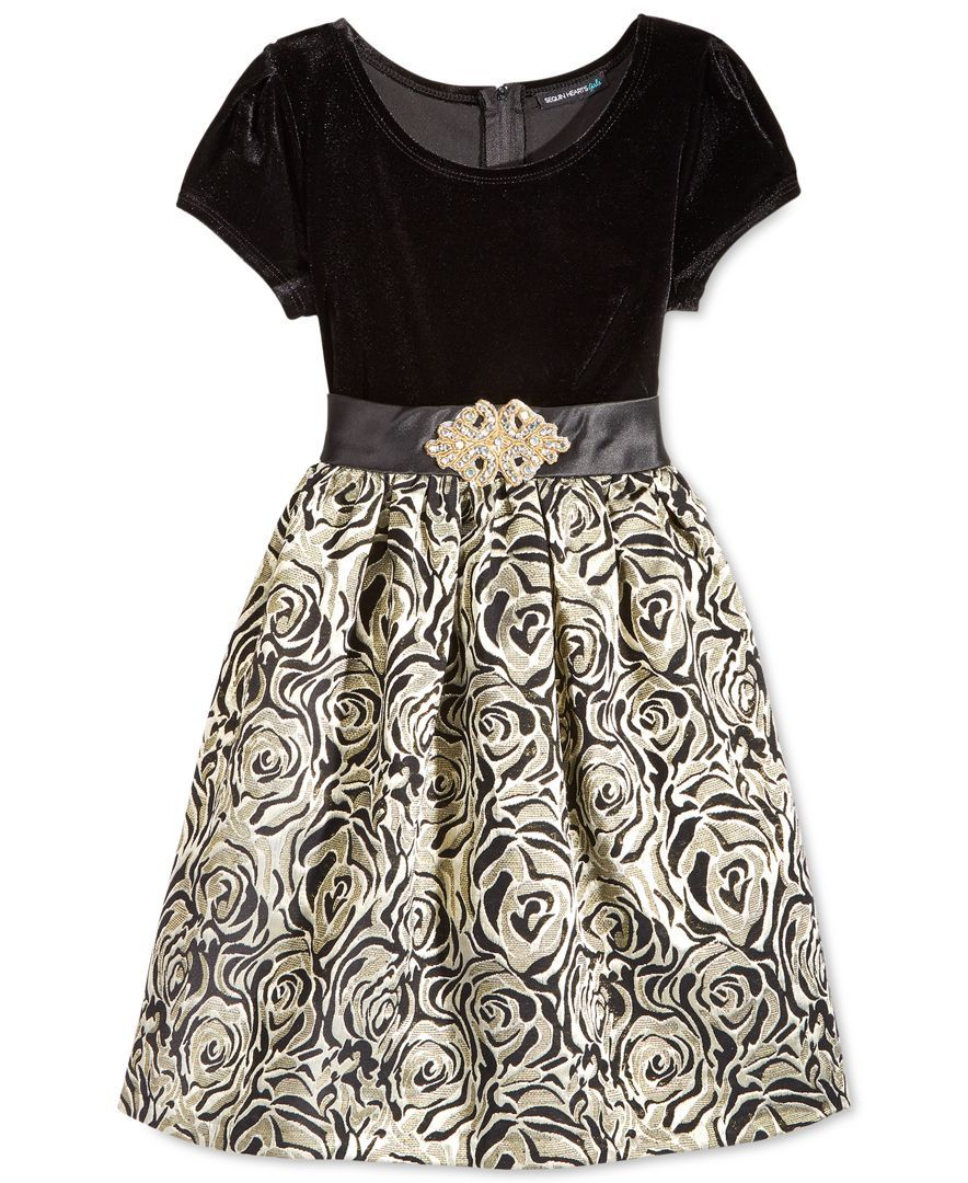 5014fce74defd Sequin Hearts Girls' Velvet-to-Brocade Dress | Frocks | Brocade ...