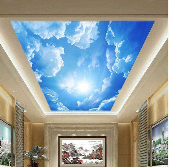 Best Blue Sky 3D Ceiling Sky White Clouds 3D Wallpaper 3D 400 x 300