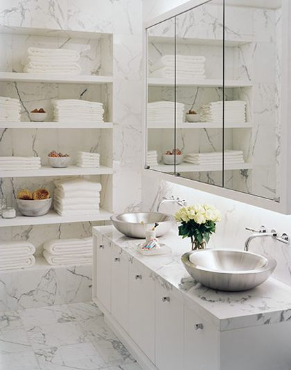 Douglas Friedman Marble Bathroom Similar Layout Open My Original Walk In Closet And Place Towel Shelves Powder Room Area I Like The Sliver Sinks With