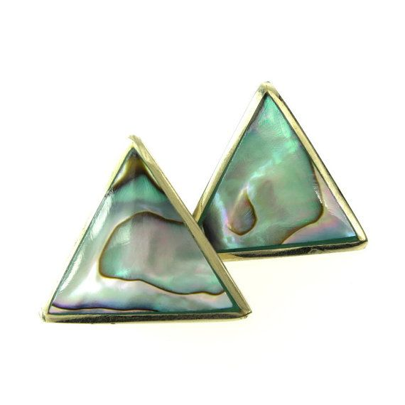 Vintage Triangle Abalone Earrings Pierced Posts Alpaca Mexico  Cute and simple triangle shape pierced earrings with wonderful abalone shell