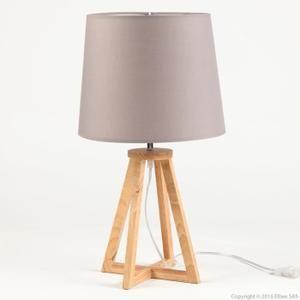 Lampe  poser pied croix en bois avec abat jour en tissu hauteur