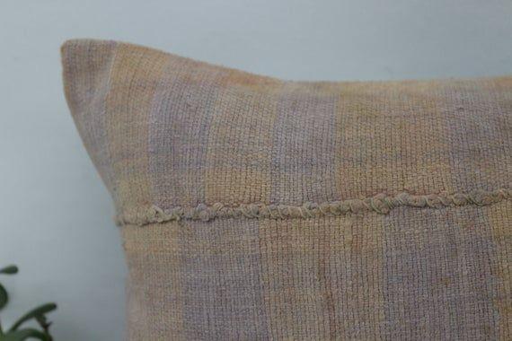 12x20 Rustic Pillow, Wholesale Kilim Pillow, Lumbar Pillow Cover, Striped Pillow, Orange Pillow, Yog