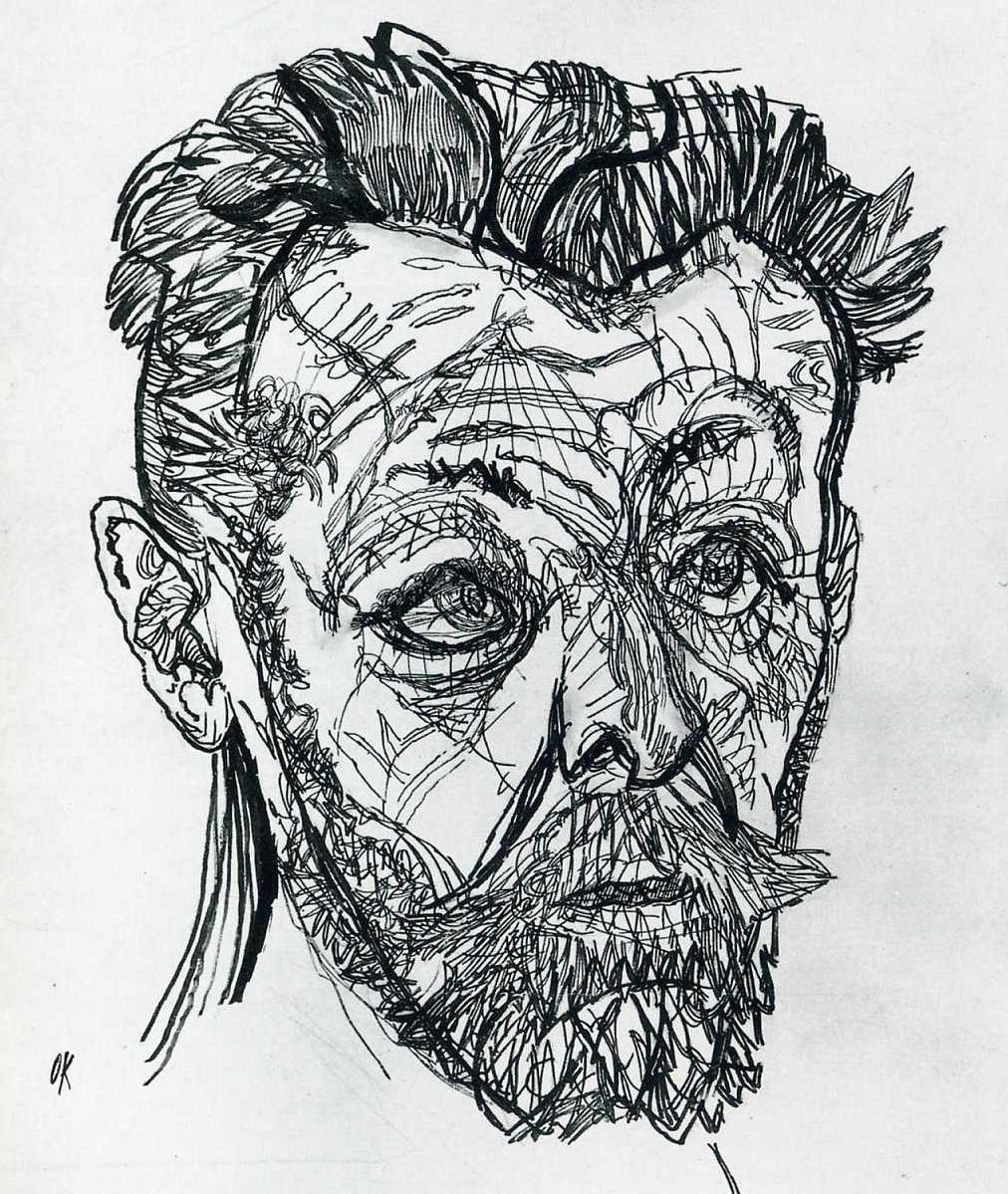 Richard Dehmel  A pen & ink portrait by Oskar Kokoschka