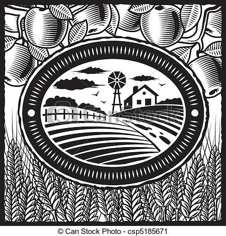 Vector retro farm black and white stock illustration royalty free illustrations stock