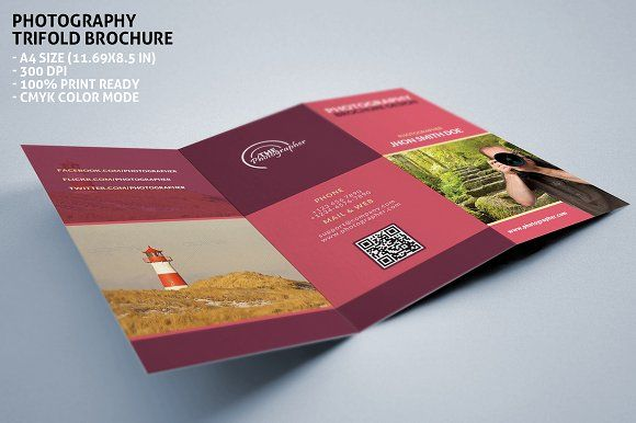 Photography Portfolio Trifold Brochure Template Brochures And Tri