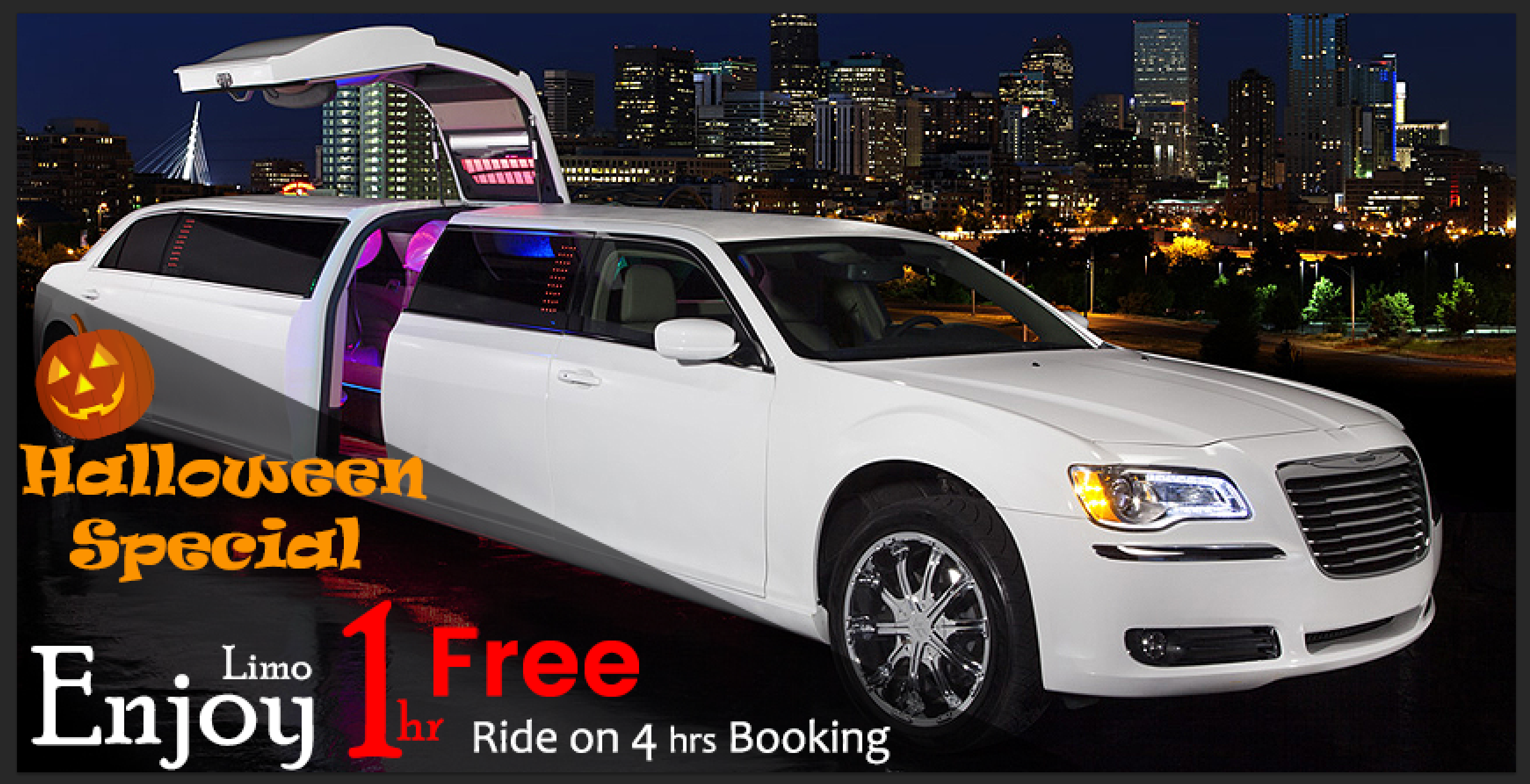 Big Offer For Halloween Night Special 4 Hours Pick Limo To Get 1 Hour Free We Know How Special Halloween Night For Bachelo Limo Limousine Car Limousine