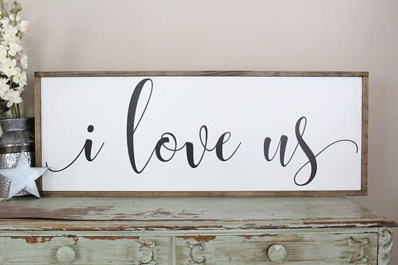 I Love Us Sign, Farmhouse Style Wall Art, Couples Home
