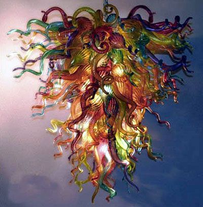 Colorful Glass Chandelier By Robert Kuster of Belle Mead Hot Glass – Glass Chandelier Artist