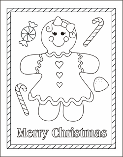 Free Christmas coloring pages gingerbread girl coloring sheets