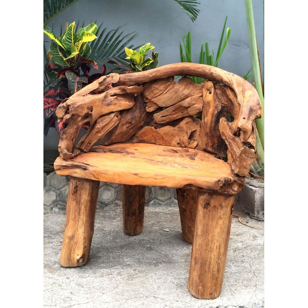 Hand Carved Rustic Teak Root Single Bench Chair Recycled Garden Furniture Chair Bench Teak