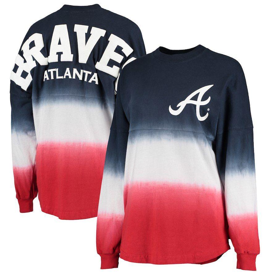 Atlanta Braves Women S Navy Oversized Long Sleeve Ombre Spirit Jersey T Shirt Atlanta Braves Outfit Braves Shirts Braves Apparel