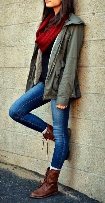 Love this fall outfit idea - olive military style jacket, scarf, denim and boots. Bring on the cooler temps!