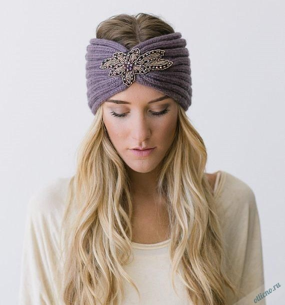 повязки на голову. вязаные повязки на голову, вязание ...